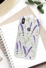 FOONCASE iPhone X hoesje TPU Soft Case - Back Cover - Purple Flower / Paarse bloemen
