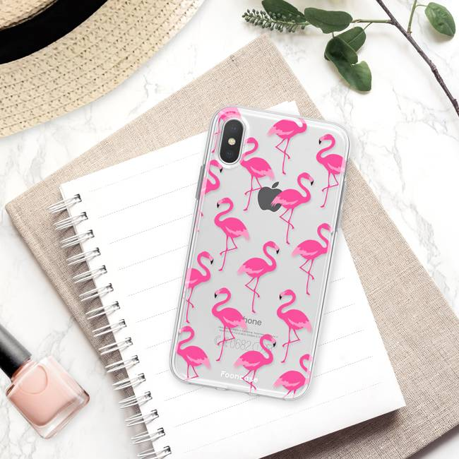FOONCASE iPhone X hoesje TPU Soft Case - Back Cover - Flamingo