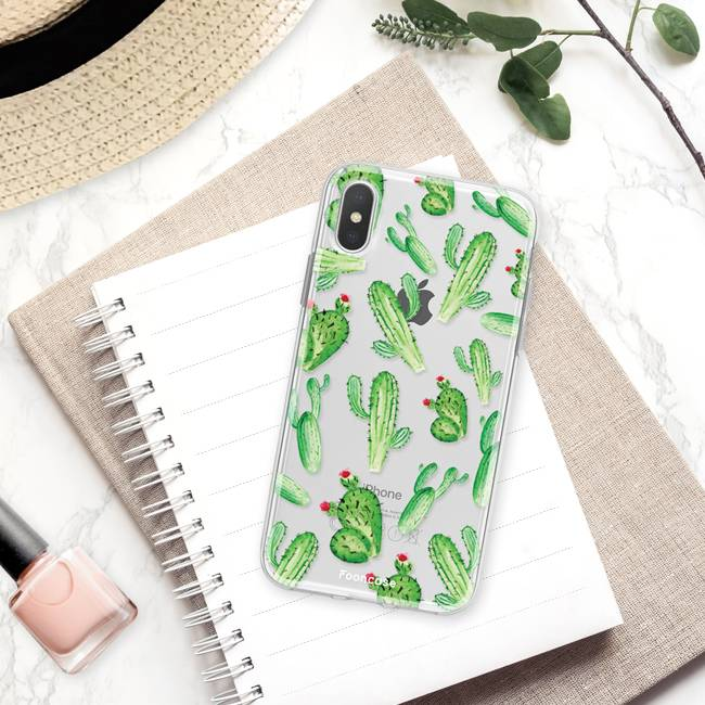 FOONCASE iPhone X hoesje TPU Soft Case - Back Cover - Cactus