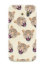 FOONCASE Samsung Galaxy S6 hoesje TPU Soft Case - Back Cover - Cheeky Leopard / Luipaard hoofden