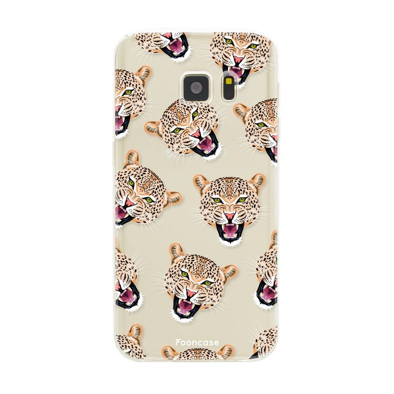 FOONCASE Samsung Galaxy S7 hoesje TPU Soft Case - Back Cover - Cheeky Leopard / Luipaard hoofden