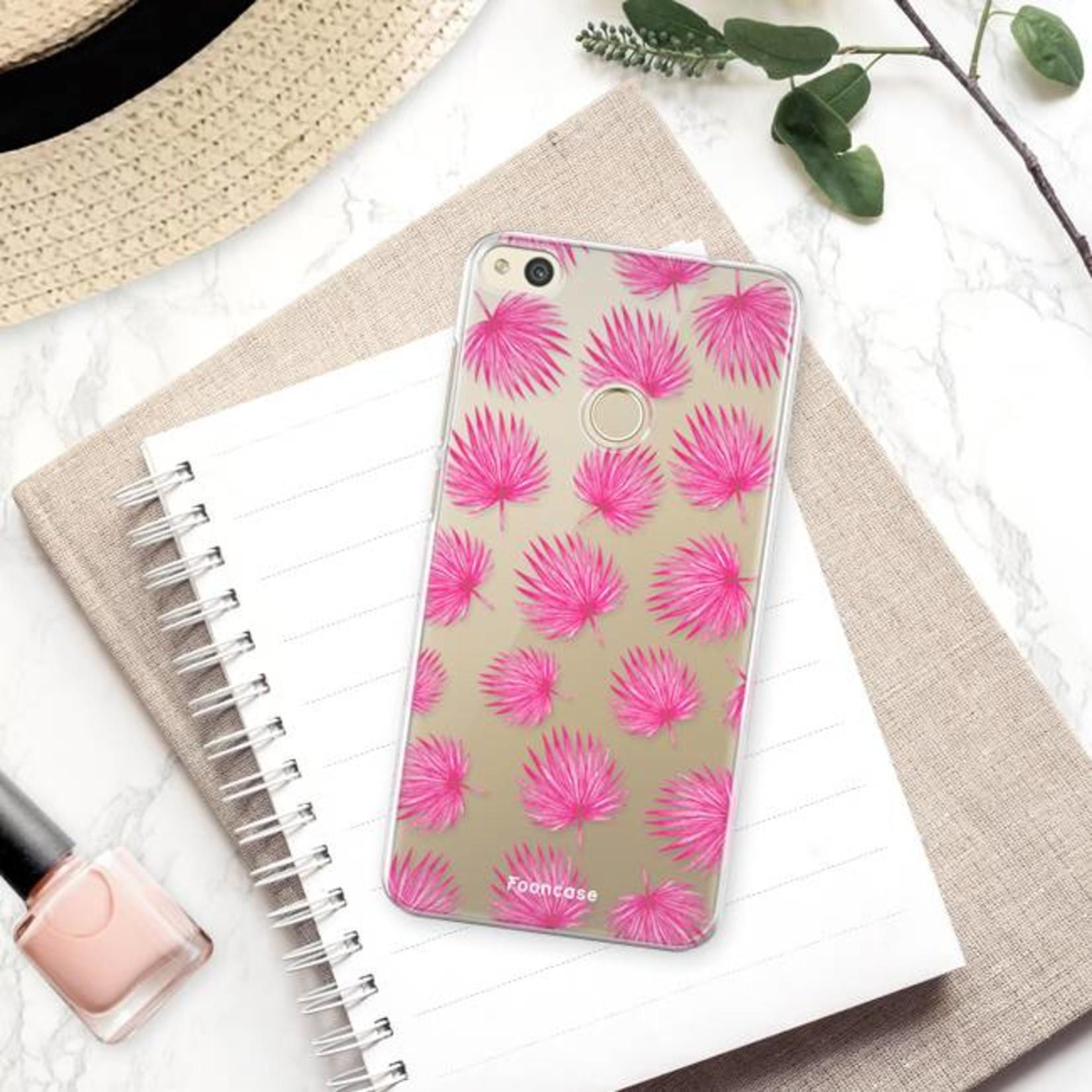 FOONCASE Huawei P8 Lite 2017 hoesje TPU Soft Case - Back Cover - Pink leaves / Roze bladeren