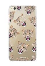FOONCASE Huawei P8 Lite 2017 hoesje TPU Soft Case - Back Cover - Cheeky Leopard / Luipaard hoofden