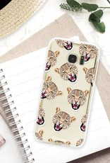 FOONCASE Samsung Galaxy S7 Edge - hoesje TPU Soft Case - Back Cover - Cheeky Leopard / Luipaard hoofden