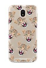 FOONCASE Samsung Galaxy J5 2017 hoesje TPU Soft Case - Back Cover - Cheeky Leopard / Luipaard hoofden