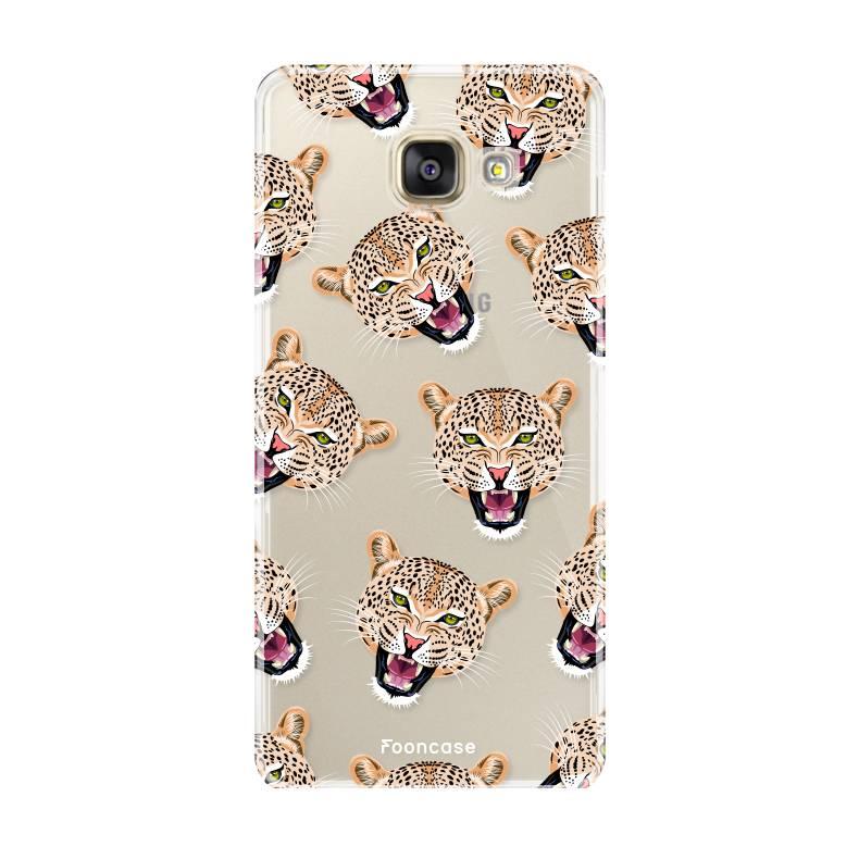 FOONCASE Samsung Galaxy A3 2016 hoesje TPU Soft Case - Back Cover - Cheeky Leopard / Luipaard hoofden