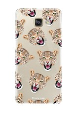 FOONCASE Samsung Galaxy A3 2017 hoesje TPU Soft Case - Back Cover - Cheeky Leopard / Luipaard hoofden