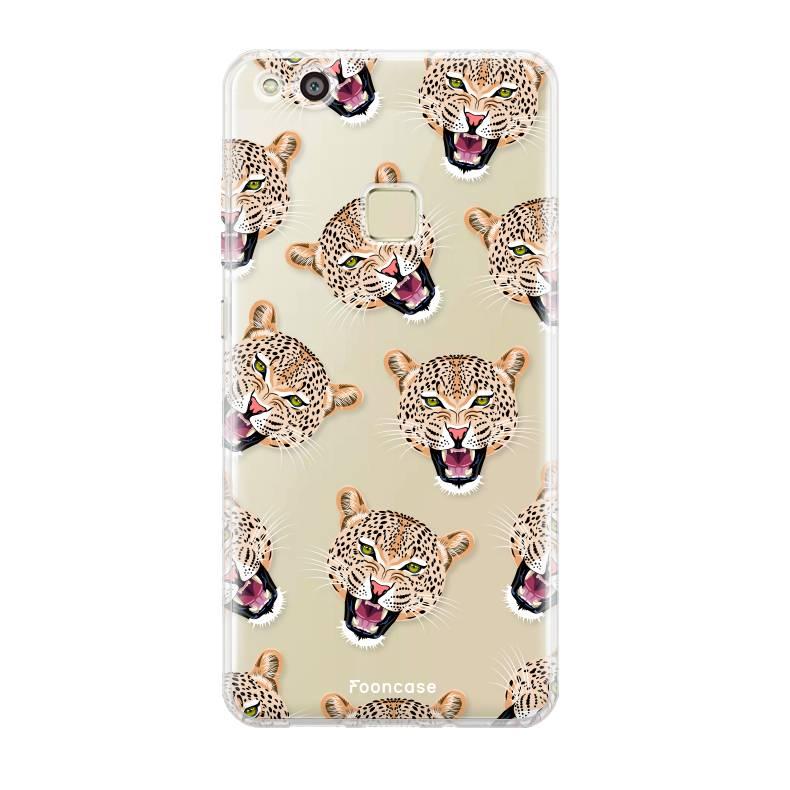 FOONCASE Huawei P10 Lite hoesje TPU Soft Case - Back Cover - Cheeky Leopard / Luipaard hoofden