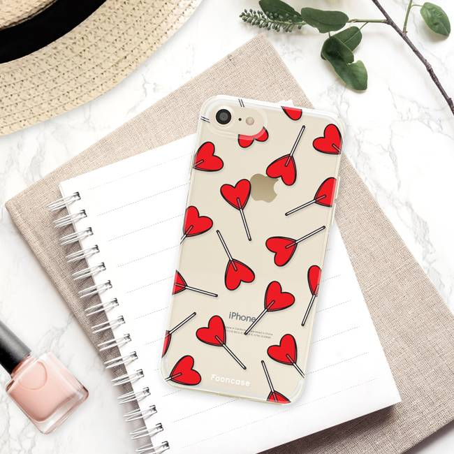 FOONCASE iPhone 8 hoesje TPU Soft Case - Back Cover - Love Pop