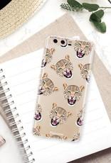 FOONCASE Huawei P10 hoesje TPU Soft Case - Back Cover - Cheeky Leopard / Luipaard hoofden