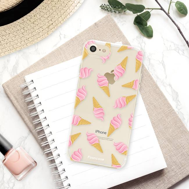 FOONCASE iPhone 7 hoesje TPU Soft Case - Back Cover - Ice Ice Baby / Ijsjes / Roze ijsjes