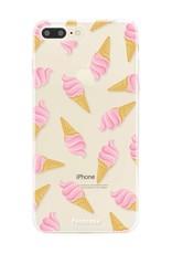 FOONCASE iPhone 8 Plus hoesje TPU Soft Case - Back Cover - Ice Ice Baby / Ijsjes / Roze ijsjes