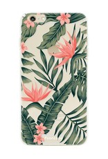 FOONCASE iPhone 6 / 6S hoesje TPU Soft Case - Back Cover - Tropical Desire / Bladeren / Roze