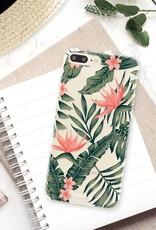 FOONCASE iPhone 8 Plus hoesje TPU Soft Case - Back Cover - Tropical Desire / Bladeren / Roze