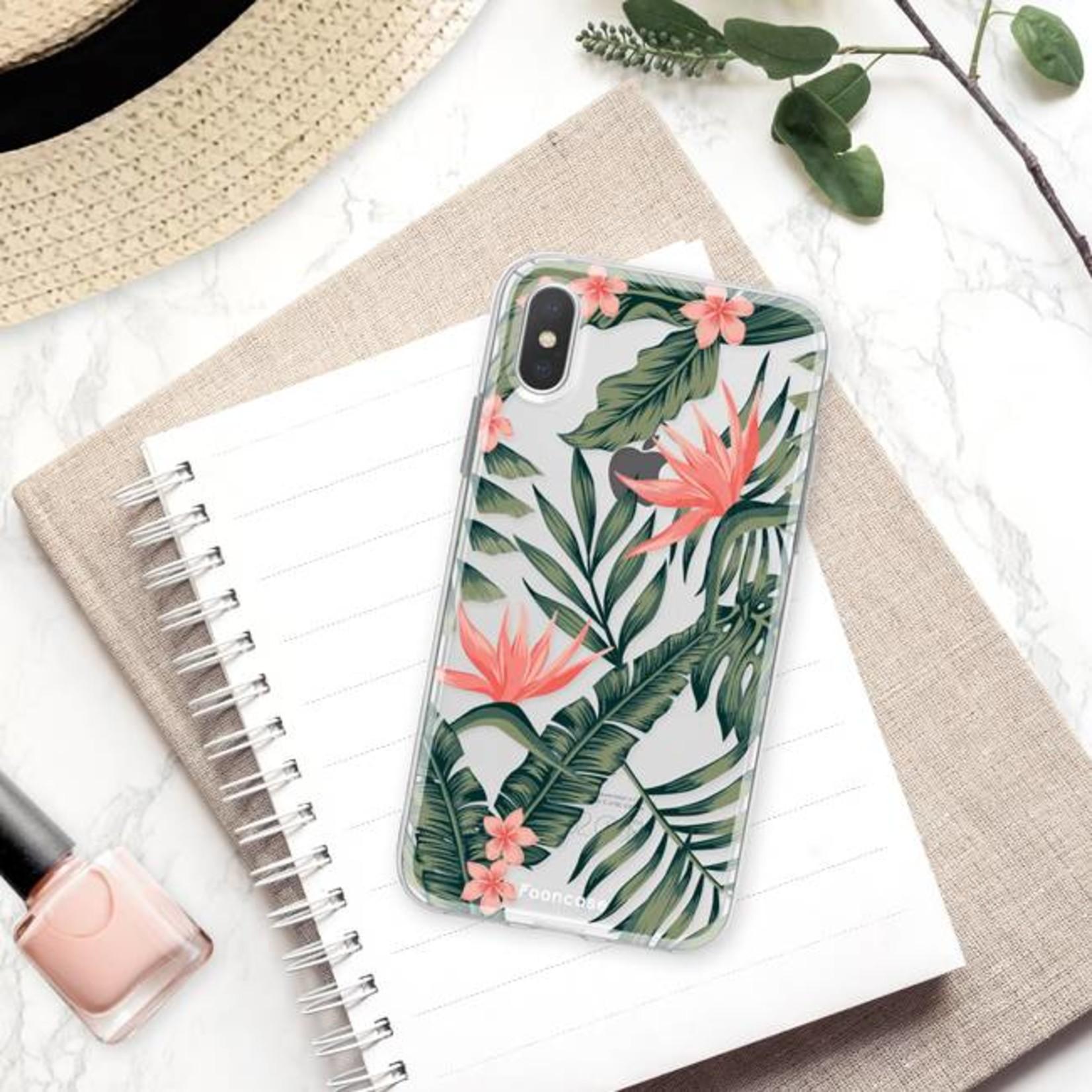 FOONCASE iPhone X hoesje TPU Soft Case - Back Cover - Tropical Desire / Bladeren / Roze