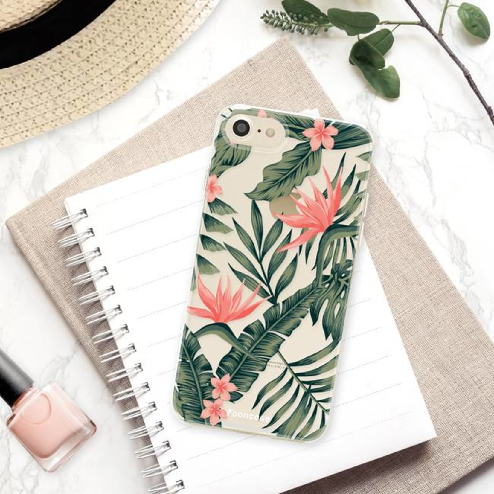 FOONCASE iPhone 8 hoesje TPU Soft Case - Back Cover - Tropical Desire / Bladeren / Roze