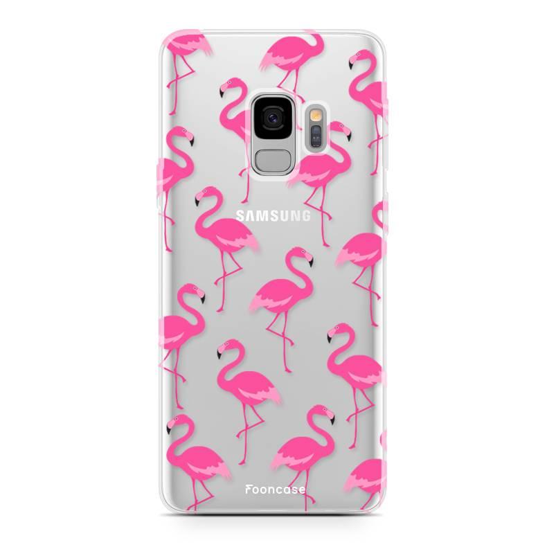 FOONCASE Samsung Galaxy S9 hoesje TPU Soft Case - Back Cover -  Flamingo