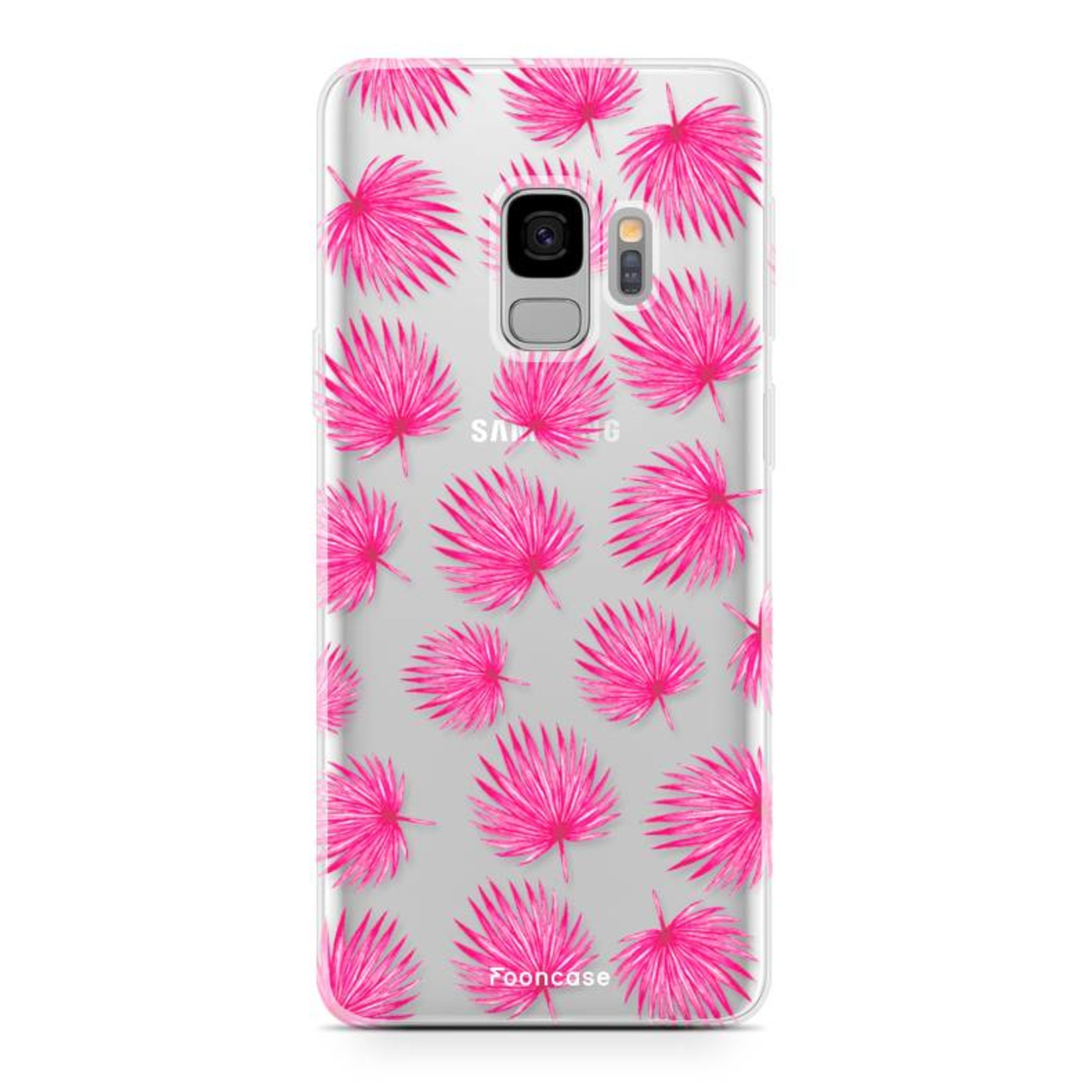 FOONCASE Samsung Galaxy S9 hoesje TPU Soft Case - Back Cover - Pink leaves / Roze bladeren