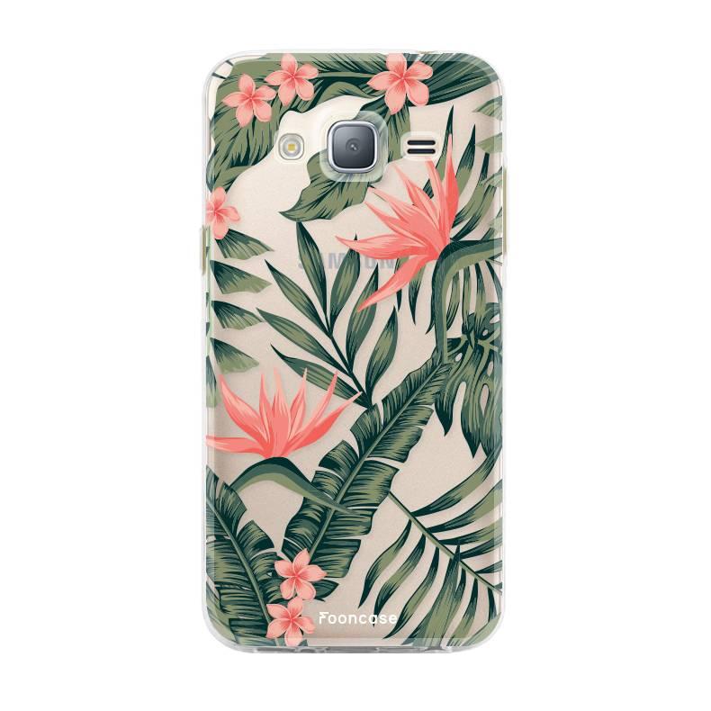 FOONCASE Samsung Galaxy J3 2016 hoesje TPU Soft Case - Back Cover - Tropical Desire / Bladeren / Roze