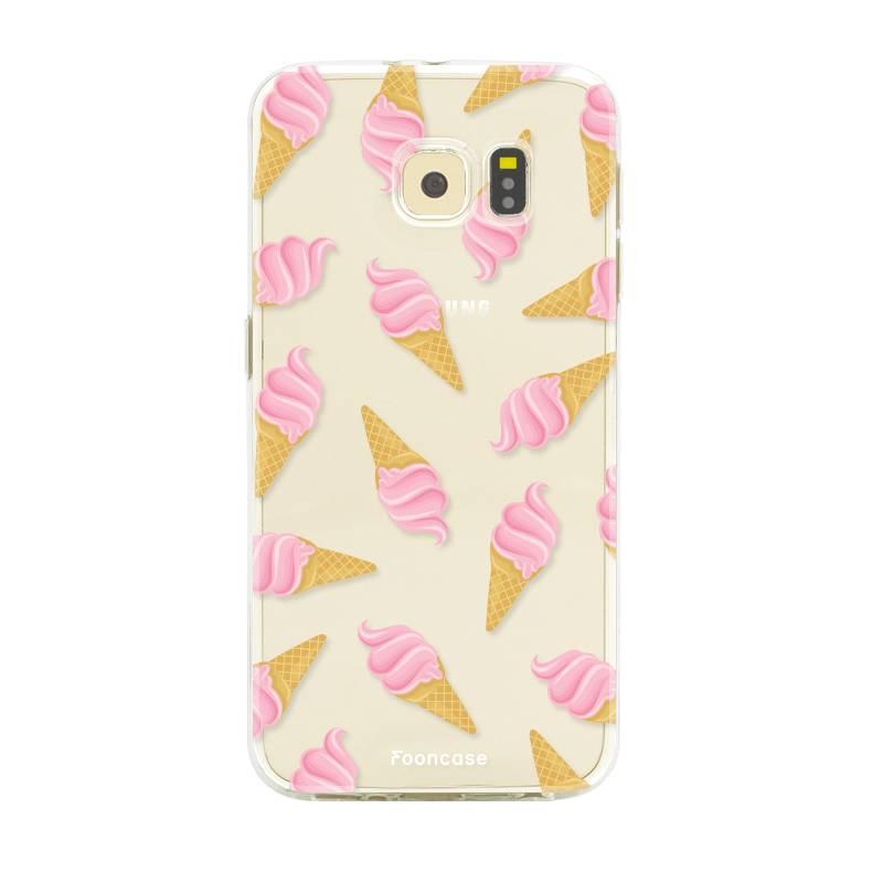 FOONCASE Samsung Galaxy S6 hoesje TPU Soft Case - Back Cover - Ice Ice Baby / Ijsjes / Roze ijsjes