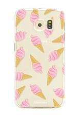 FOONCASE Samsung Galaxy S6 Edge hoesje TPU Soft Case - Back Cover - Ice Ice Baby / Ijsjes / Roze ijsjes