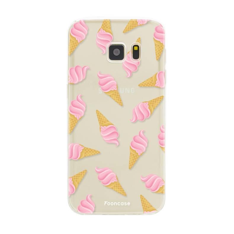 FOONCASE Samsung Galaxy S7 hoesje TPU Soft Case - Back Cover - Ice Ice Baby / Ijsjes / Roze ijsjes
