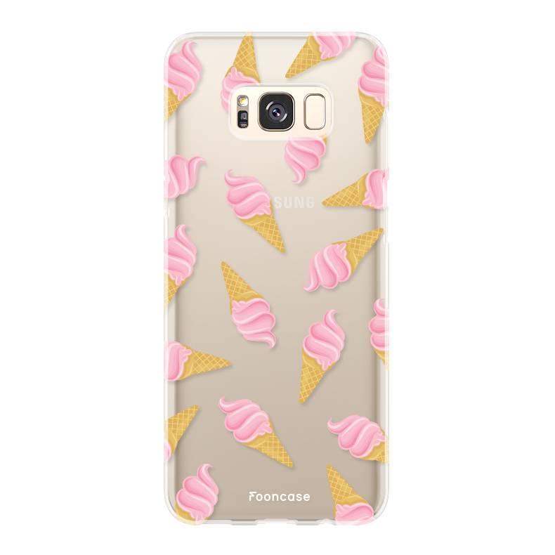 FOONCASE Samsung Galaxy S8 Plus hoesje TPU Soft Case - Back Cover - Ice Ice Baby / Ijsjes / Roze ijsjes