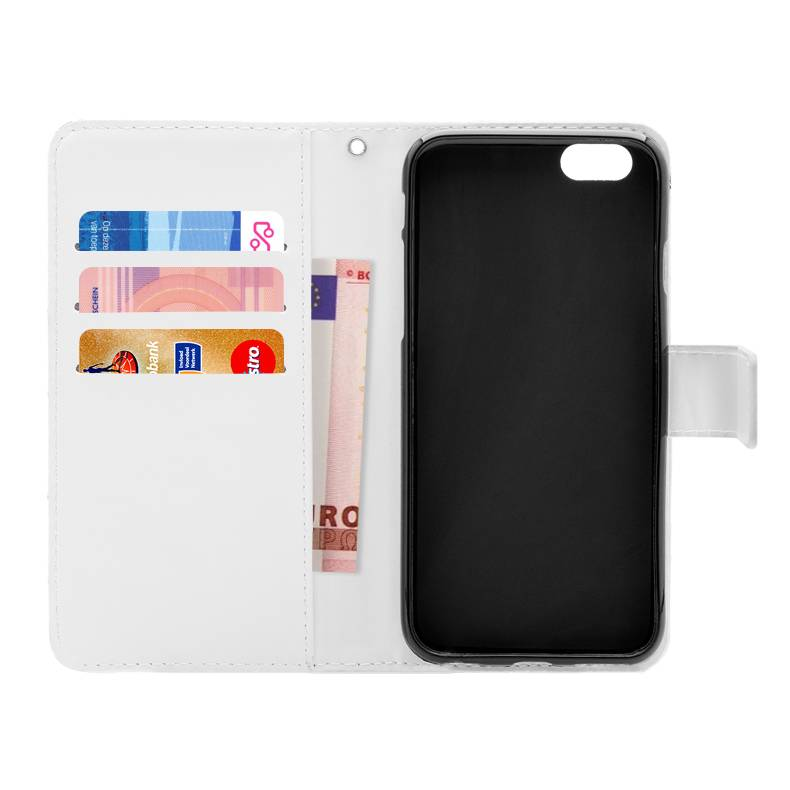 FOONCASE iPhone 6 Plus hoesje - Bookcase - Flipcase - Hoesje met pasjes - Flamingo