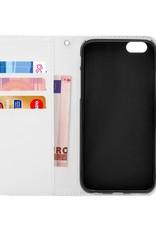 FOONCASE iPhone 6 Plus hoesje - Bookcase - Flipcase - Hoesje met pasjes - Pink leaves / Roze bladeren