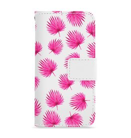 FOONCASE Iphone 6 Plus - Pink leaves - Booktype