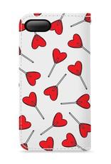 FOONCASE iPhone 7 Plus hoesje - Bookcase - Flipcase - Hoesje met pasjes - Love Pop
