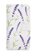 FOONCASE iPhone 7 Plus hoesje - Bookcase - Flipcase - Hoesje met pasjes - Purple Flower / Paarse bloemen