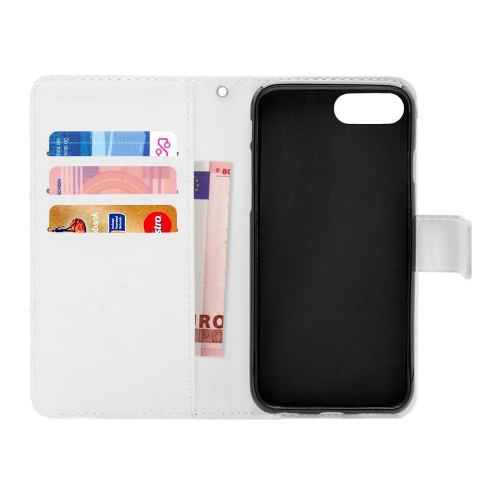 FOONCASE iPhone 7 Plus hoesje - Bookcase - Flipcase - Hoesje met pasjes - Stars / Sterretjes