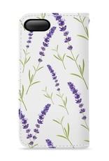 FOONCASE iPhone 8 Plus hoesje - Bookcase - Flipcase - Hoesje met pasjes - Purple Flower / Paarse bloemen