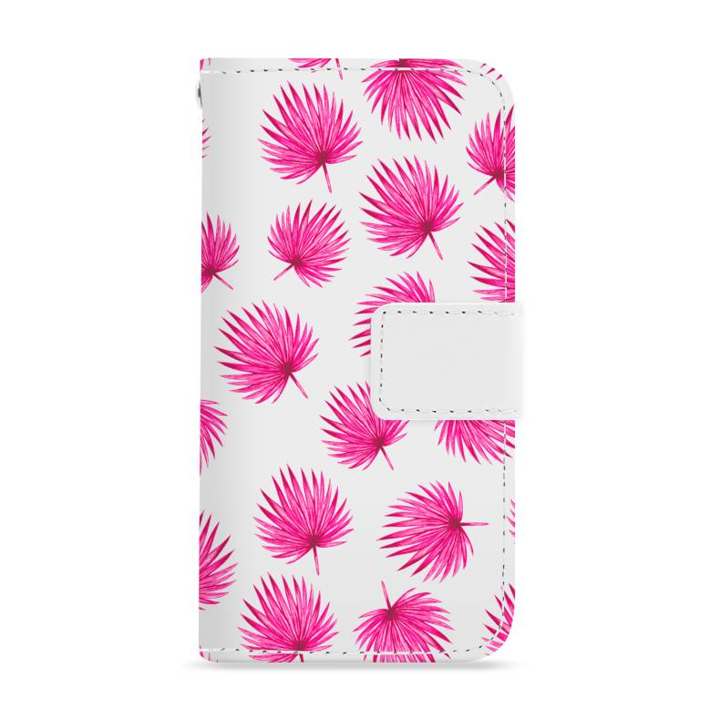 FOONCASE iPhone 7 Plus hoesje - Bookcase - Flipcase - Hoesje met pasjes - Pink leaves / Roze bladeren