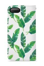 FOONCASE iPhone 7 Plus hoesje - Bookcase - Flipcase - Hoesje met pasjes - Banana leaves / Bananen bladeren