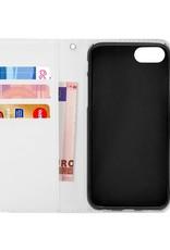 FOONCASE iPhone 8 Plus hoesje - Bookcase - Flipcase - Hoesje met pasjes - Pink leaves / Roze bladeren
