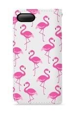 FOONCASE iPhone 7 Plus hoesje - Bookcase - Flipcase - Hoesje met pasjes - Flamingo
