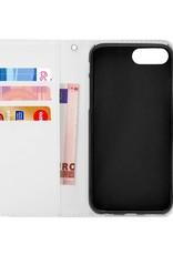 FOONCASE iPhone 8 Plus hoesje - Bookcase - Flipcase - Hoesje met pasjes - Flamingo
