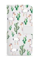 FOONCASE iPhone 8 Plus hoesje - Bookcase - Flipcase - Hoesje met pasjes - Alpaca / Lama