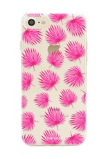 FOONCASE iPhone 8 hoesje TPU Soft Case - Back Cover - Pink leaves / Roze bladeren