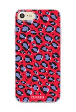 FOONCASE iPhone 8 hoesje TPU Soft Case - Back Cover - WILD COLLECTION / Luipaard / Leopard print / Rood