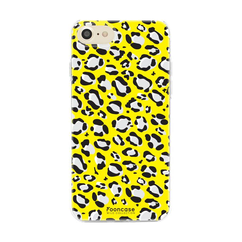 FOONCASE iPhone 8 hoesje TPU Soft Case - Back Cover - WILD COLLECTION / Luipaard / Leopard print / Geel