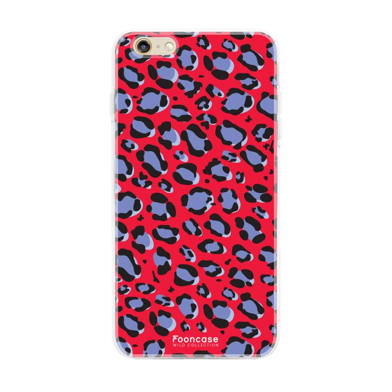 FOONCASE iPhone 6 / 6S hoesje TPU Soft Case - Back Cover - WILD COLLECTION / Luipaard / Leopard print / Rood