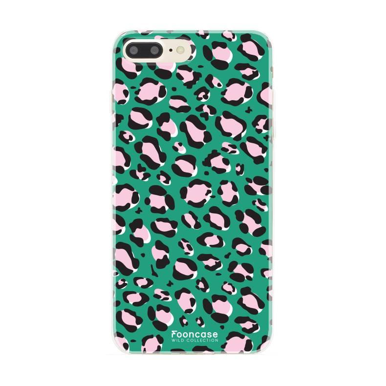 FOONCASE iPhone 8 Plus hoesje TPU Soft Case - Back Cover - WILD COLLECTION / Luipaard / Leopard print / Groen