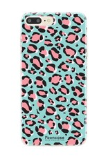 FOONCASE iPhone 7 Plus hoesje TPU Soft Case - Back Cover - WILD COLLECTION / Luipaard / Leopard print / Blauw
