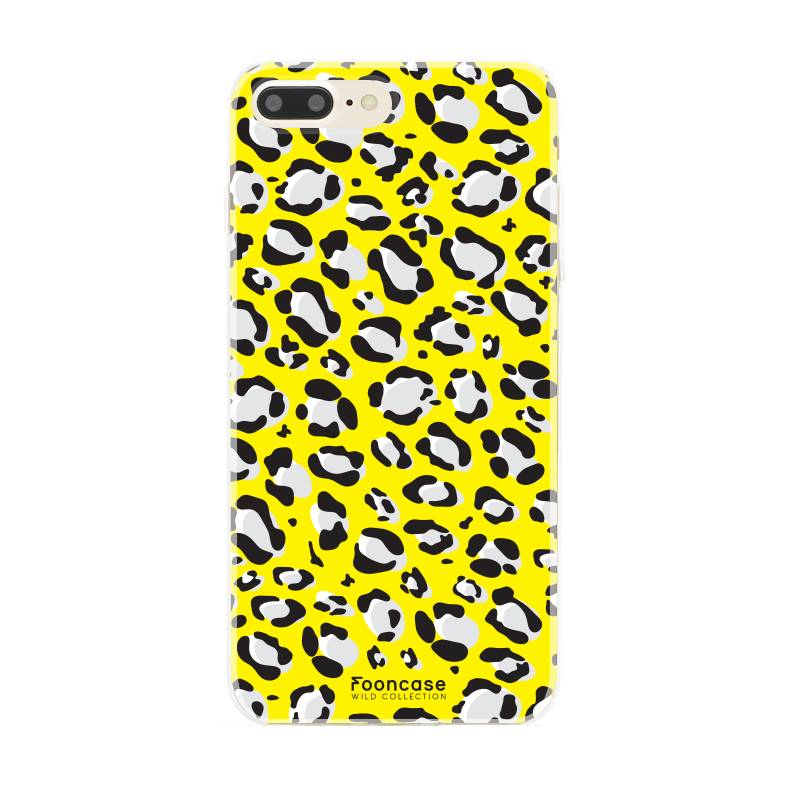 FOONCASE iPhone 7 Plus hoesje TPU Soft Case - Back Cover - WILD COLLECTION / Luipaard / Leopard print / Geel