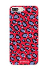 FOONCASE iPhone 7 Plus hoesje TPU Soft Case - Back Cover - WILD COLLECTION / Luipaard / Leopard print / Rood