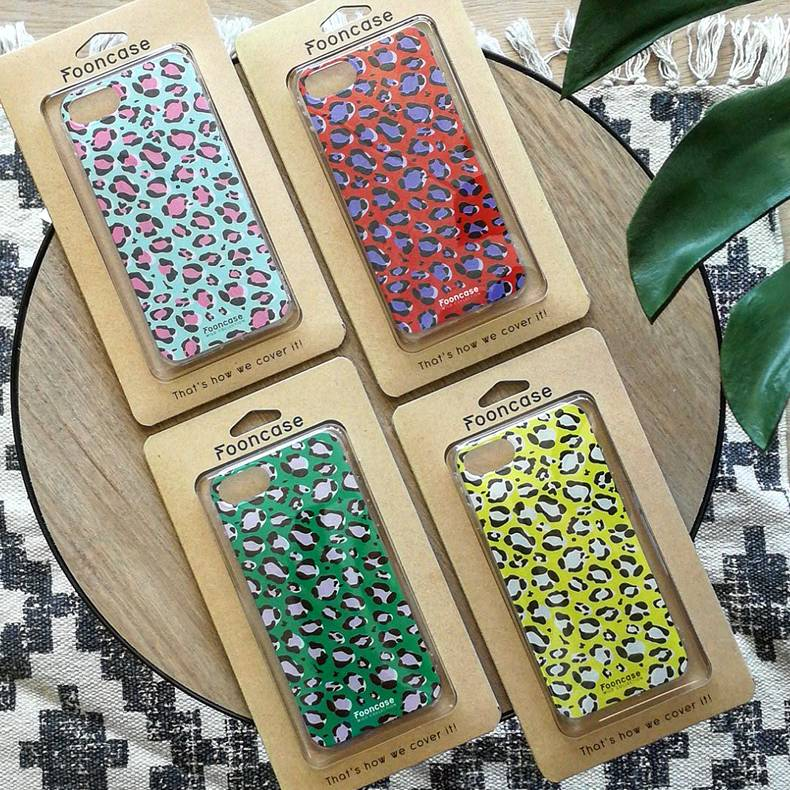 FOONCASE iPhone 8 Plus hoesje TPU Soft Case - Back Cover - WILD COLLECTION / Luipaard / Leopard print / Blauw