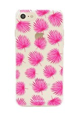 FOONCASE iPhone 7 hoesje TPU Soft Case - Back Cover - Pink leaves / Roze bladeren